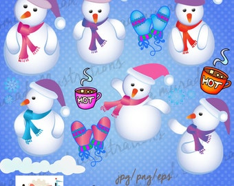 Christmas Clipart, Christmas snowmen Clip Art, Santa Clipart,, Snowman, Cute Christmas Graphic.