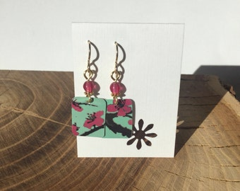 Repurposed Arizona green tea can earrings