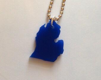 Michigan Necklace - Lower Peninsula - Lasercut State Jewelry -Dark Blue Small Size