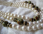Valentine's Sale - Vintage Faux Pearl & Cloisonne Style Three Strand Necklace