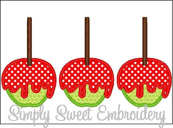 Candy Apple Trio Machine Embroidery Applique Design