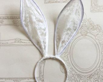 Ivory white bunny ears headband.