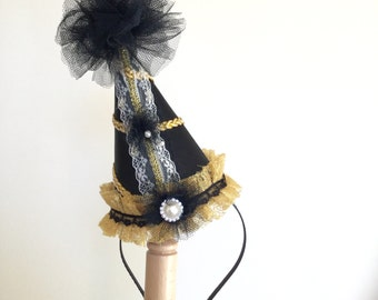 Clown hat - Circus Costume - Black and gold circus hat - Burlesque hat - Carnival hat.