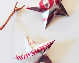 Showstopper Diet Coke Stars Christmas Ornaments  Soda Can Upcycled Coca Cola, Silver Red