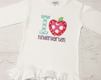 I Love Kindergarten Shirt, Back to School Shirt, Custom, Boy and Girl Versions Available