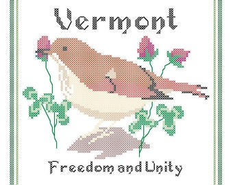 Vermont State Bird, Flower and Motto Cross Stitch Pattern PDF
