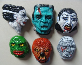 Classic Monsters  Refrigerator Magnets set A(heads)
