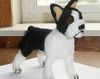 Boston Terrier Needle felted OOAK sculpture