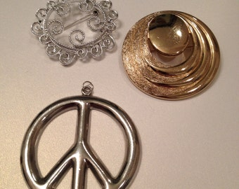 Circle Brooches and Peace Pendant Monet Sarah Coventry