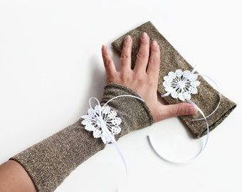 Retro Arm Warmers, Gold Yarned Bridal Fingerless Gloves Evening Formal Elastic Fabric  Hand Crocheted Lace, deco Glam Wedding, Unique Design