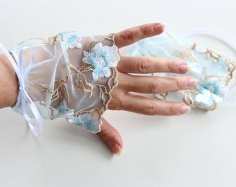 Fingerless Gloves Bridal Wrist Cuffs Boho Chic Romantic Pastel Blue Embroidered Tulle, Retro Tulle Gloves