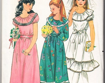 Vintage 1980s Butterick 3118 Sewing Pattern Girls' Communion and Flower Dress Size 10