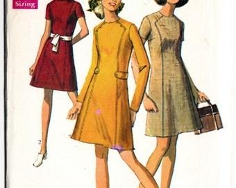 Vintage 1969 Simplicity 8491 UNCUT Sewing Pattern Misses' Dress Size 10 Bust 32-1/2