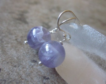 Lavender Stone Earrings, Natural Amethyst Gemstone Round, 925 Sterling Silver, Pastel Purple, Bridesmaid; Throat, third eye, crown chakra