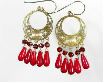 Garnet and Red Coral Earrings, Coral Chandelier Earrings, Red Chandelier Earrings, Gold
