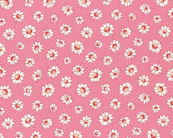Retro 30's Child Smile Spring 2016 Collection Cotton Fabric Lecien 31281-20 Daisy Flowers on Pink