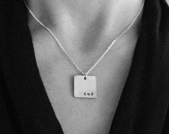 Square pewter pendant with custom stamped small initials in lower right corner, Sterling Silver Chain, Anniversary, Love, Necklace for Her