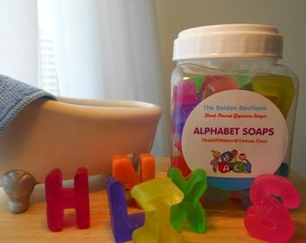 American Alphabet Soap Letters, ABC's, Sensory Learning, Gift for the Blind, Multi-Color, Letter Soap