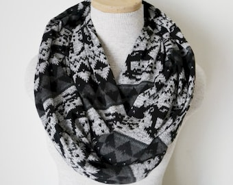 READY TO SHIP - Fairisle Reindeer Infinity Scarf - Black and Grey