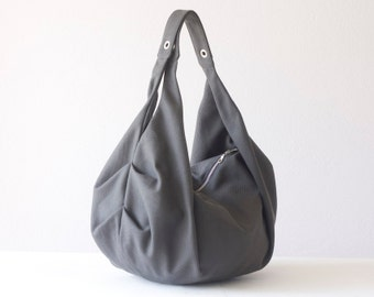 Grey large shoulder bag canvas,hobo bag,slouchy purse,carryall bag,gym bag,overnight weekend bag,hobo purse,sling bag - Kallia bag