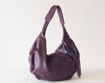 Violet purple leather bag,hobo purse,everyday bag,small shoulder bag,slouchy purse,women bag brown - Mini Kallia bag