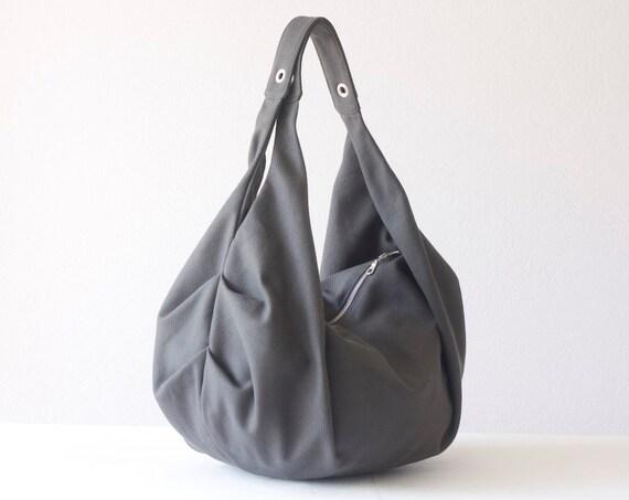 Grey large shoulder bag canvas,hobo bag,slouchy purse,carryall bag,gym bag,overnight weekend bag,hobo purse,sling bag - Kallia bag