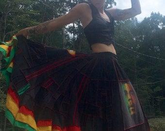 Custom Order DEPOSIT Bob Marley scrappy patchwork maxi twirl skirt