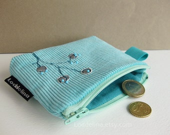 COIN purse turquoise aqua blue corduroy silver trim with embroidery and beads