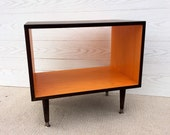 The Backless Wee Record Player Stand Mid Century Modern Record Cabinet TV Stand Vinyl Storage, MCM Orange and Chocolate Brown