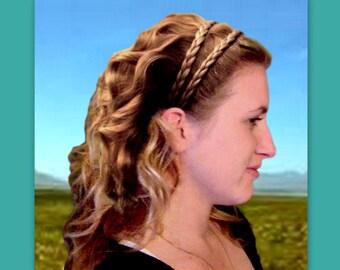 bridesmaid hair gift custom braid accessory wedding bridal headband hairband woman boho band Grecian hairpiece braided double braid plait