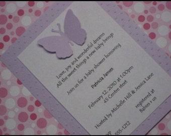 Butterfly baby shower invitation, birth announcements or Butterfly Birthdday invitation