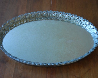 Vintage Goldtone Oval Splattered Mirrored Tray with Embossed Border - Art Nouveau - Mid Century - Hollywood Regency