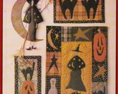 witch black cat Halloween wall quilt applique quilt pattern Pieces From My Heart trick or treat 128 uncut mug rug