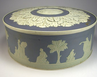 Blue Wedgwood Style Large Tin, Paradise Fruit Cake, Smith Crafted, Home Decor