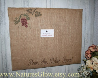 Wine Message Board, Burlap Covered Cork Board, Burlap Message Board, Bulletin Board, Memo Board, Burlap Cork Board, Pin Board, Wine Decor