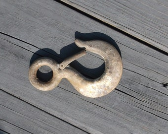 """5""""x3"""" Cast Metal Hook..Industrial Decor..Farm Find..Spring Loaded Hook..Towing Hook..Great Patina"""