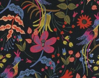 Cotton + Steel - Rifle Paper Co. - Les Fleurs - CANVAS Folk Birds in Black