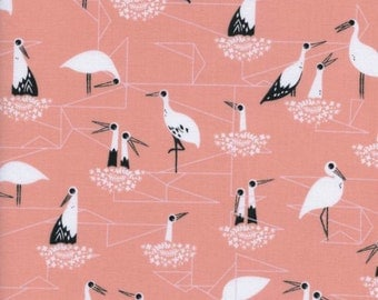 Cotton + Steel - From Porto with Love Collection - Stork Nest in Pink