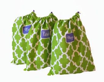 Bridesmaid Shoe Bags, 3 Personalized Lingerie Bags, Wedding Gifts, Shoe bags, golf shoe bags, travel shoe bag, mini duffle bag