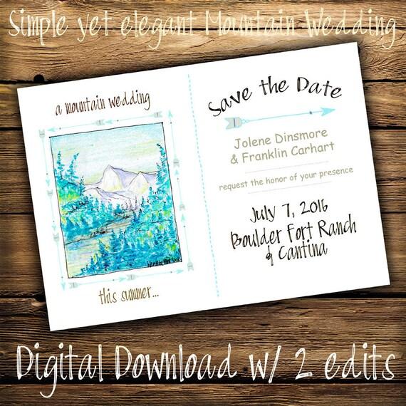 Save the Date Card, Rustic Wedding, Original Hand Colored Postcard, Country Wedding, Save the Dates, Country Wedding, Cowboy Wedding