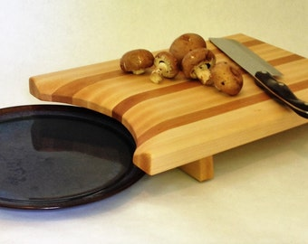 Unique Maple and Cherry Cutting Board, curved to fit a plate, one of a kind, kitchen tool #160502