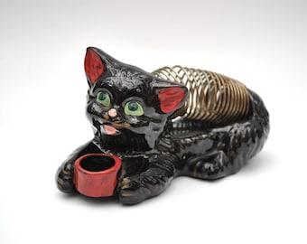 Vintage black cat letter holder 1950's black cat with bowl, vintage letter holder, pen holder desk accessory, excellent condition