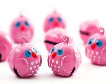 6 Whimsical Wise Old Pink Owl Bells 17mm