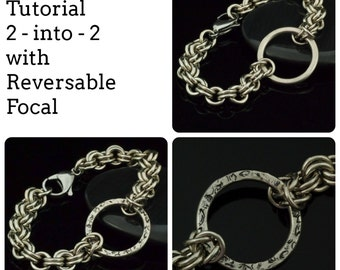 Chris Bracelet Tutorial - 2 into 2 with Two-Sided Focal - Easy Chainmaille PDF