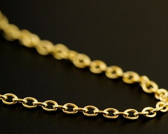 Solid Brass 2.6mm Oval Cable Chain - By the Foot or Finished  - Made in the USA