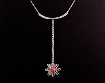 Celtic Eclipse Long Drop Pendant in Stainless Steel and Red Coral Swarovski Pearl