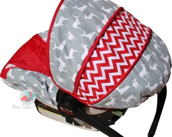 Infant Car Seat Cover Grey Deer with Red