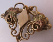Edwardian Simmons Watch Pin Three Tone Leaf Gold Filled Antique Jewelry Jewellery