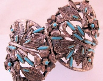15% OFF SALE 1950s Southwestern Turquoise Clamper Bracelet Silver Plated Vintage Jewelry Jewellery