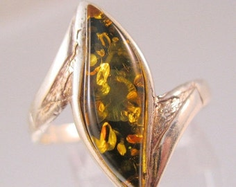 BIGGEST SALE of the Year Genuine Amber Sterling Silver Ring Size 10 Vintage Jewelry Jewellery